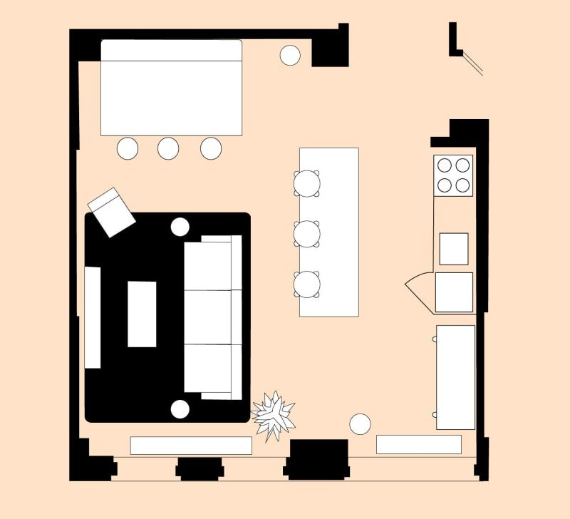 4 Living Room Layout For A Small Open Plan Space Open Kitchen