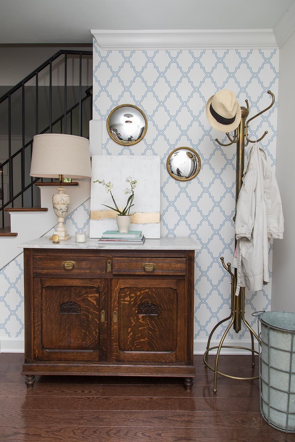 The Property Brothers Create A Dream Home For A Young Family With Twins Wallpaper Living Room Accent Wall Accent Walls In Living Room Accent Wall Entryway