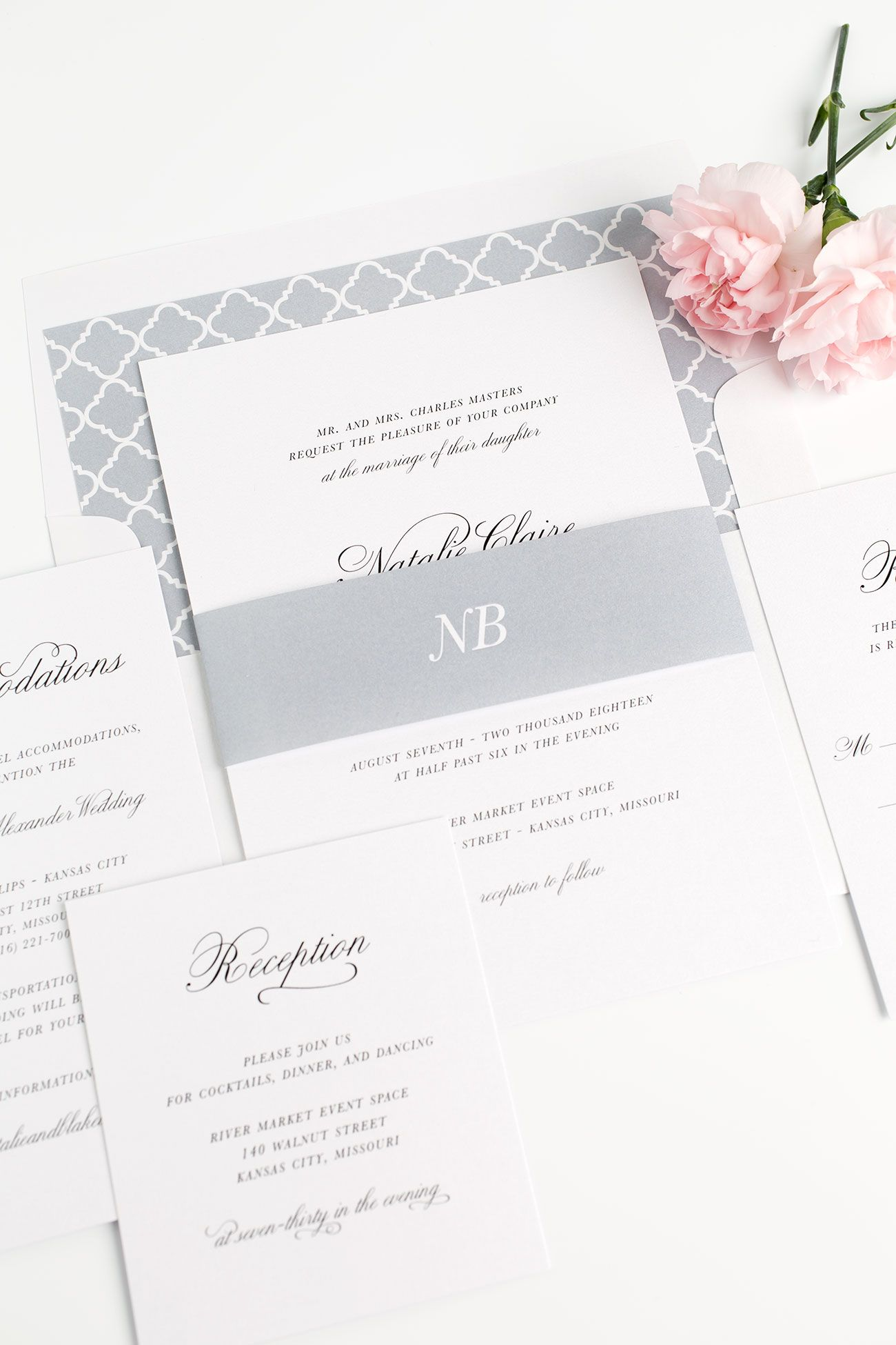 Classic Script Wedding Invitations | Dove grey, Classic weddings and ...