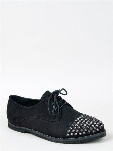 New Women Fashion Edgy Spike Studded Lace Up Flat Oxford Shoe Sz