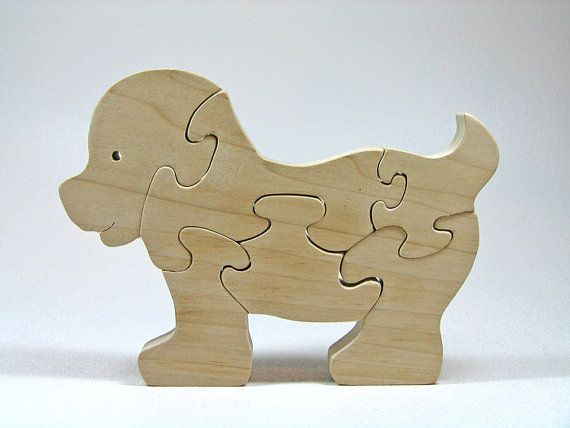 Wood Puzzle Natural Organic Safe Shaped Baby Dog Eco Friendly and Green for Toddlers and Children