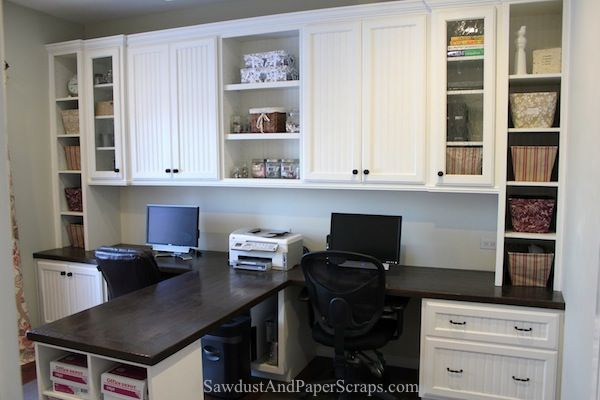 Amazing Home Office With Built In Work Stations For Two   From Sawdust Girlu0027s  Helpful Site