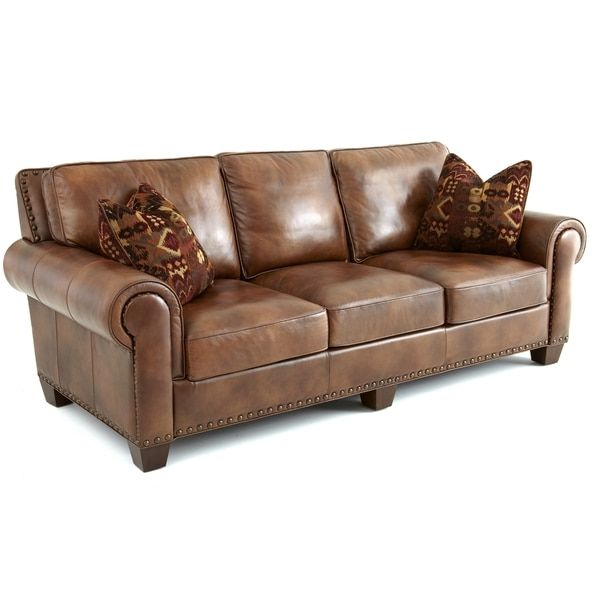 Awesome Sanremo Top Grain Leather Sofa With Two Pillows By Greyson Living