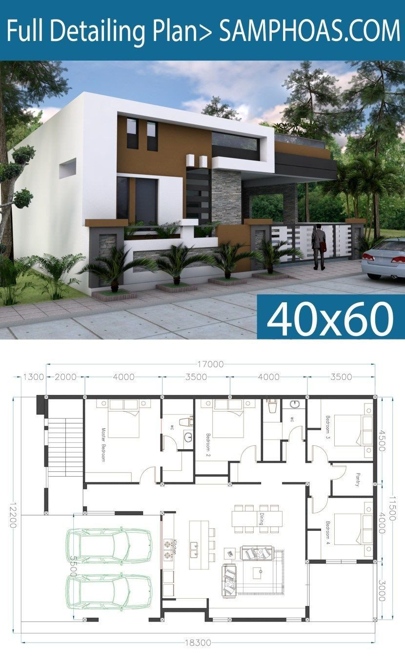 Single Floor Modern House Plans E Story House Plan 40x60 Sketchup Home Design Village House Design Modern House Floor Plans Modern House Plans