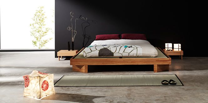 Kioto Base Solid Hevea Wood Bed Available With Wood Slat Bed
