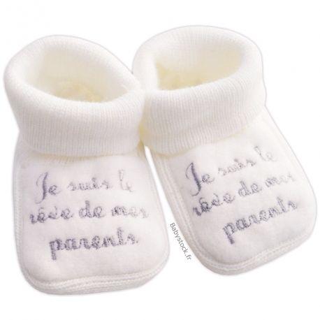 94aa3caa1e086 Chaussons bébé 0/3 mois en maille acrylique blanche brodé Je suis le rêve de