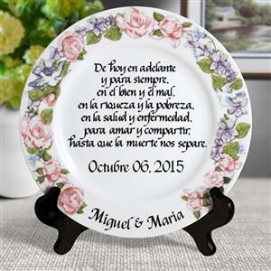 Spanish Wedding Vow Personalized Plate With Flower Wreath