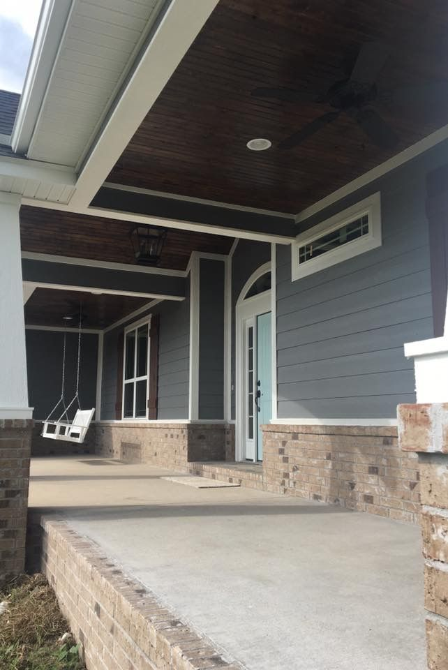 Clearwater Construction Nwa Like Lots About This House Blue Siding Gray Rock Blue Siding House Gray Rock
