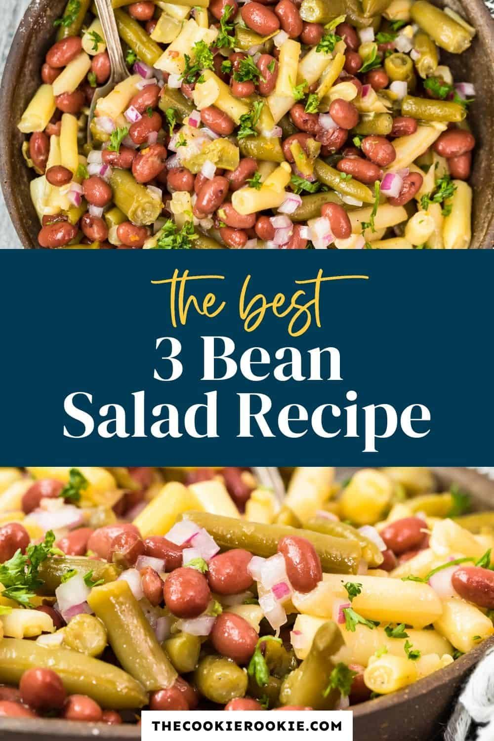 This Cold 3 Bean Salad Is So Easy To Make And Is Dressed In A Zingy And Sweet Vinaigrette Make In 2020 Bean Salad Recipes Bean Salad Thanksgiving Recipes Side Dishes