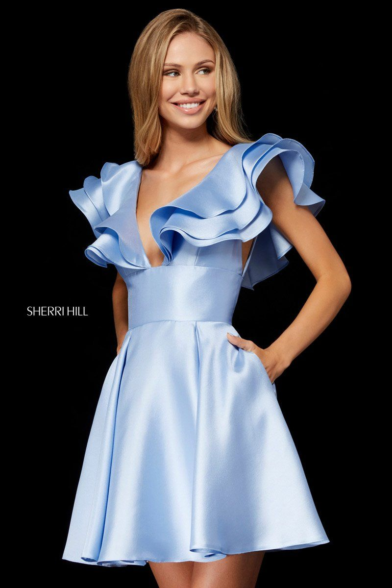 Sherri Hill 52360 is a Mikado short party dress with a V-neck bodice and  dramatic ruffled sleeves. 514b2bc46