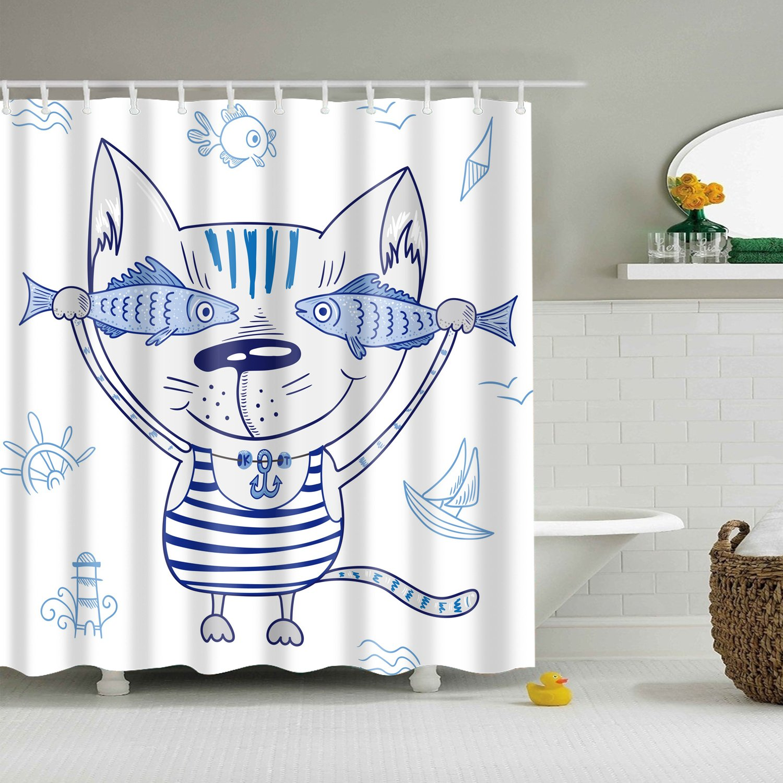 Cartoon Cat With Fish Shower Curtain Bathroom Decor Fabric