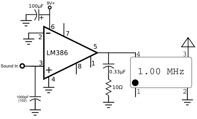 lm386 crystal oscillator am transmitter