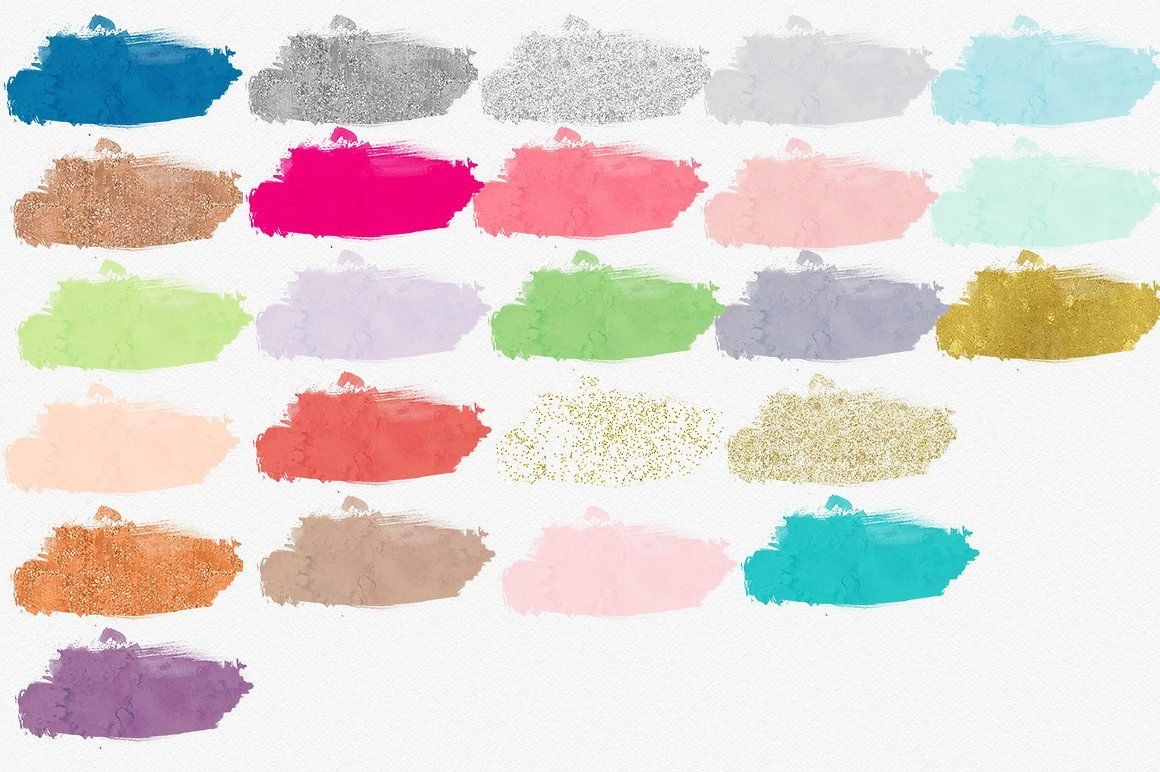 Watercolor Wash Brush Textures Strokes Included Glitter Brush