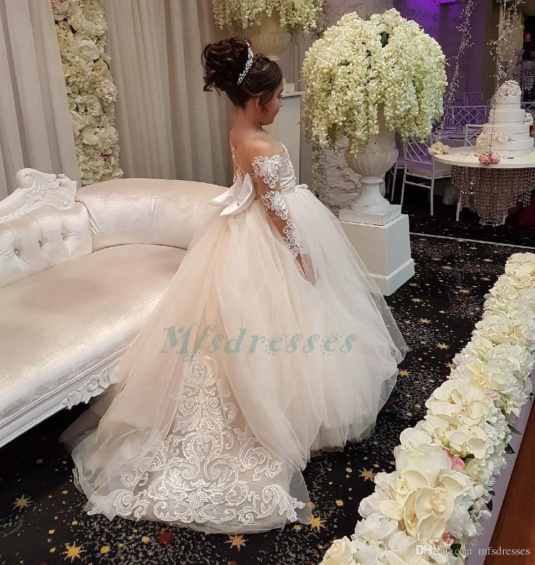 Gown For Flower Girl Wedding: Princess White Pink Flower Girls Dresses For Weddings 2018