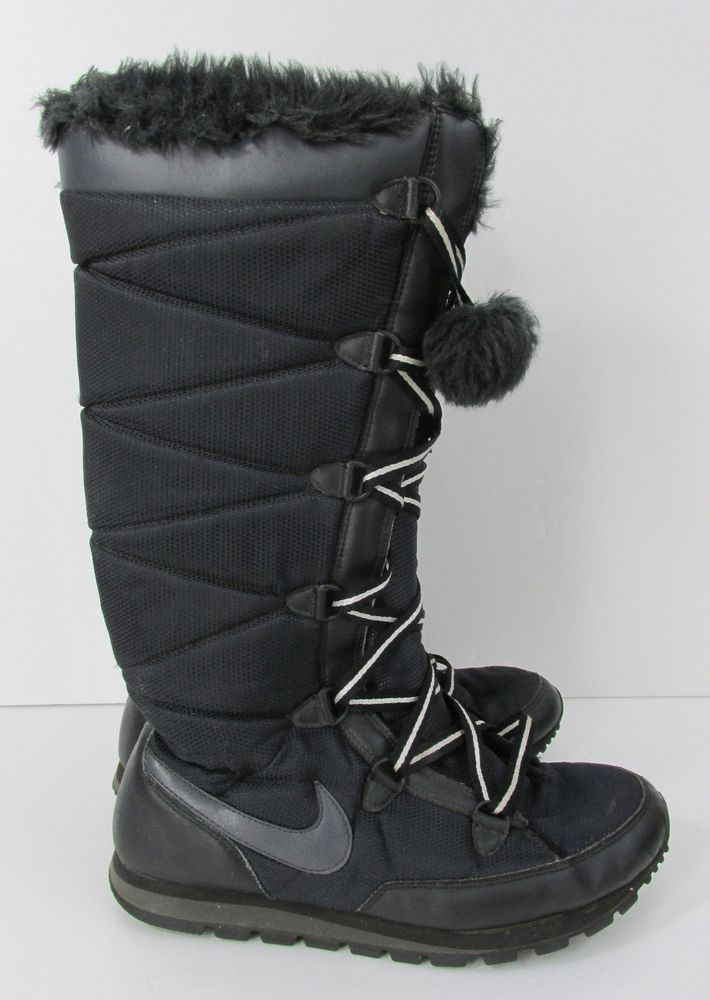 28f89a3df8 Nike Black Nylon Quilted Winter Snow Boots with Pompoms Womens Size 9-10  #Nike…
