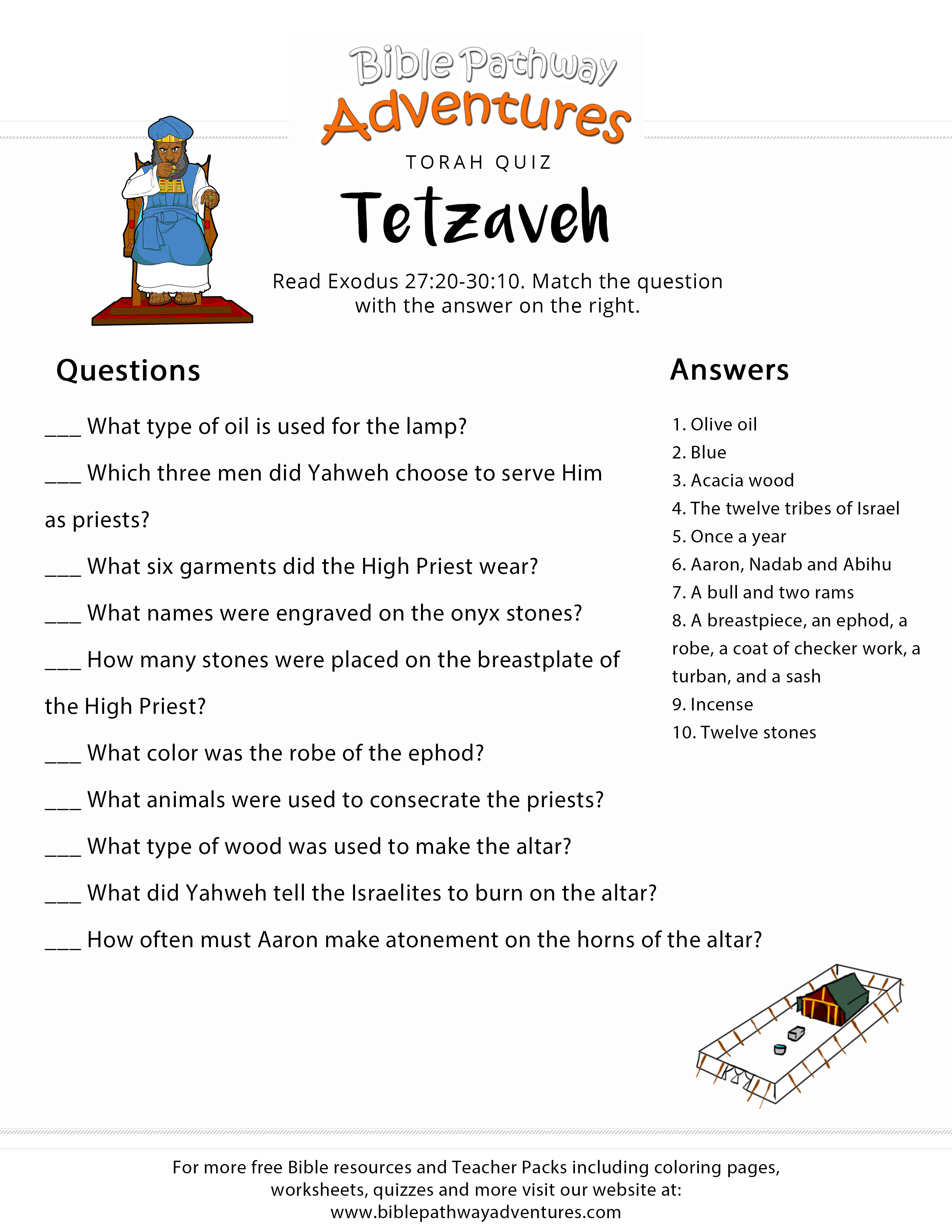 Torah Portion Quiz Tetzaveh Exodus 27 20 30 10