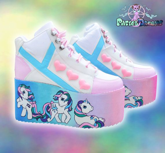 2e5a53c026ef ON SALE Hand painted YRU little pony inspired platform flatform shoes made  to order fairy kei pastel goth