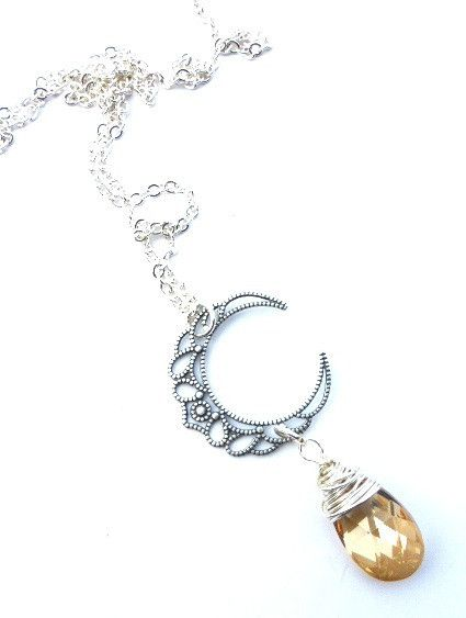 Moon, Crescent filigree silver pendant, Sterling silver chain, yellow Swarovski crystal, necklace. McKee Jewelry Designs