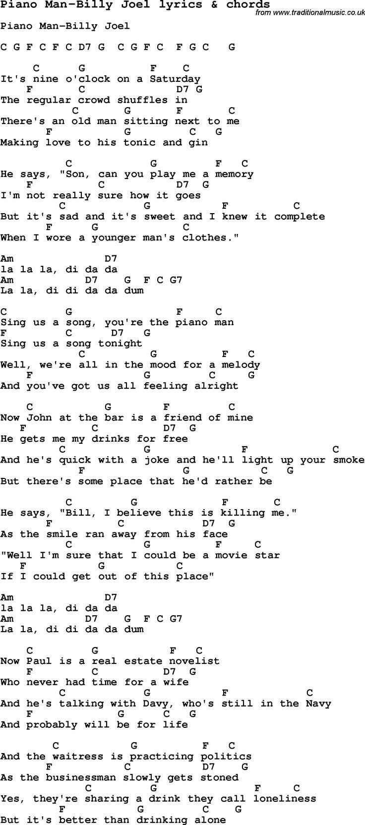 Love Song Lyrics For Piano ManBilly Joel With Chords For Ukulele