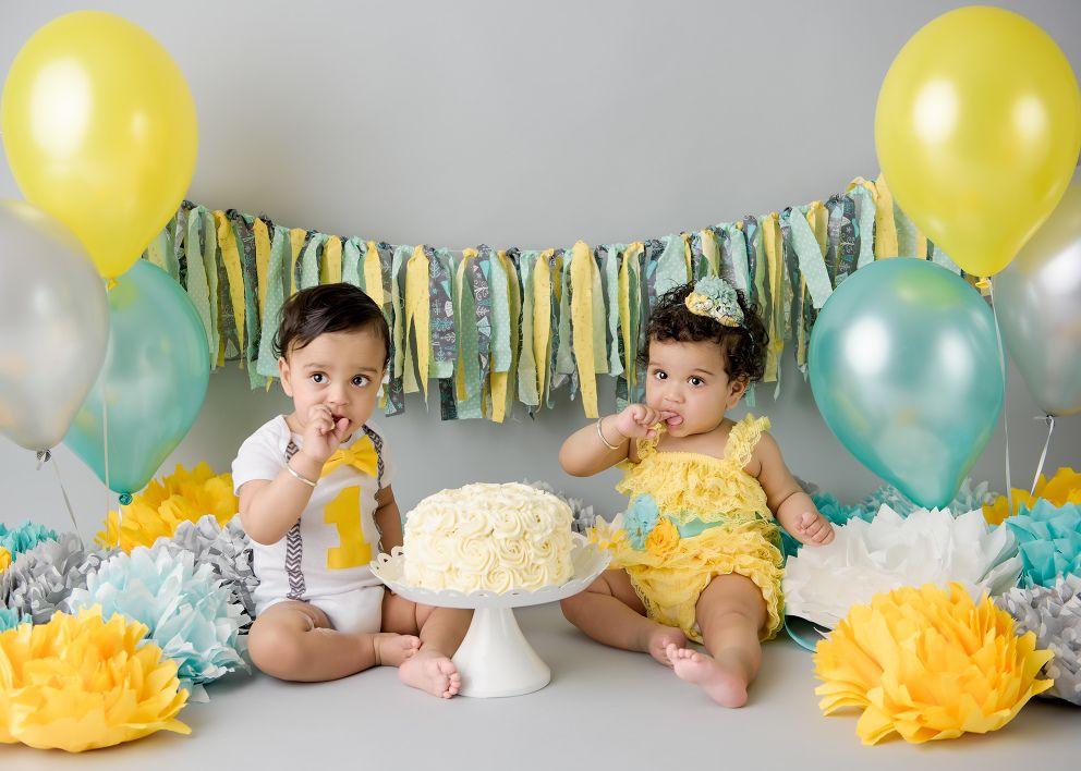 Cake Smash Mini Photo Session Richmond BC Twin birthday