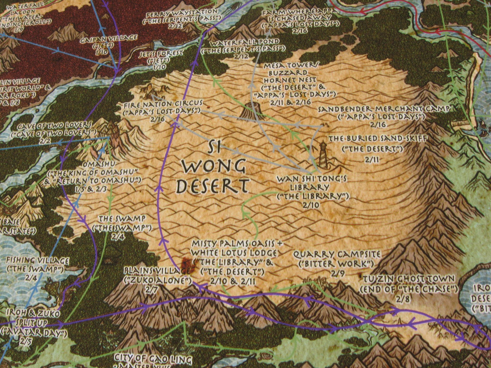 Detail Of A Map The World Avatar Last Airbender Charting Aang Gangs Journey From Southern Water Tribe To Fire Nation Capital City