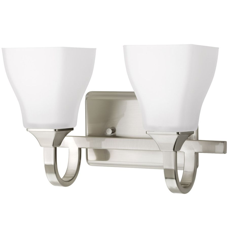 Delta Olmsted 2 Light 12 75 In Brushed Nickel Square Vanity Light Lowes Com Vanity Lighting Brushed Nickel Bathroom Bathroom Vanity Lighting