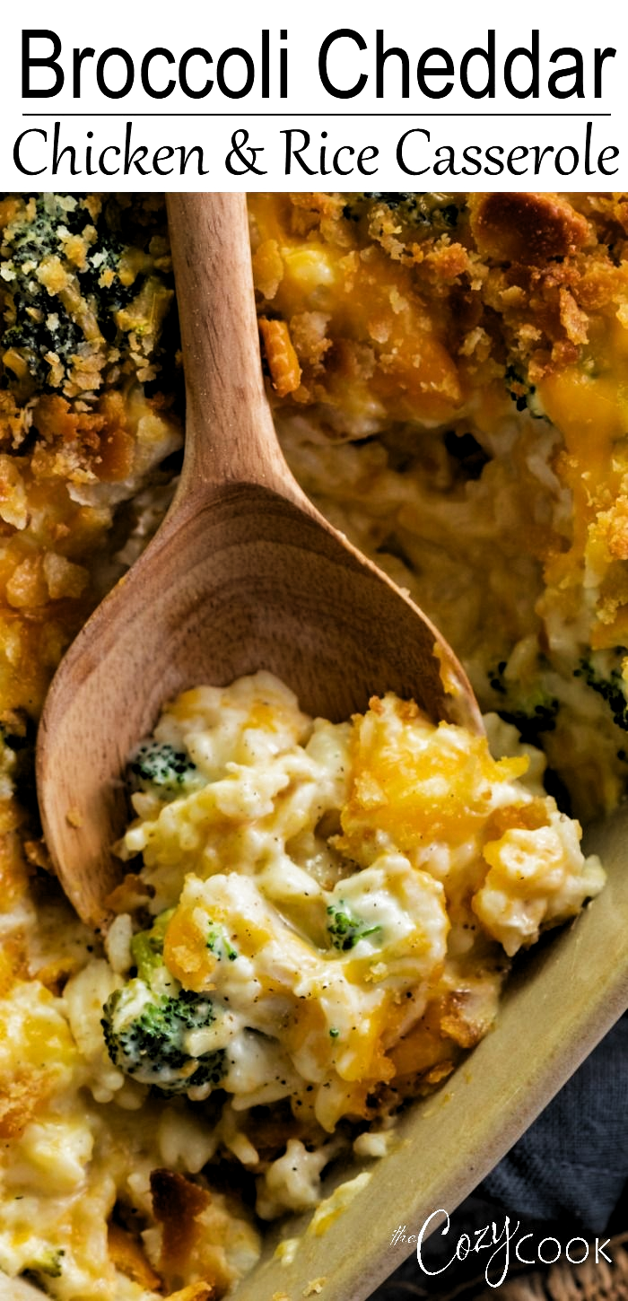 This Broccoli Cheddar Chicken and Rice Casserole is an easy make ahead meal that you can assemble and bake another day! Your family will love the cheesy filling and buttery, crunchy Ritz topping! #dinner #freezerfood #fallrecipes #familyrecipes #comfortfood #winterrecipes #cheese