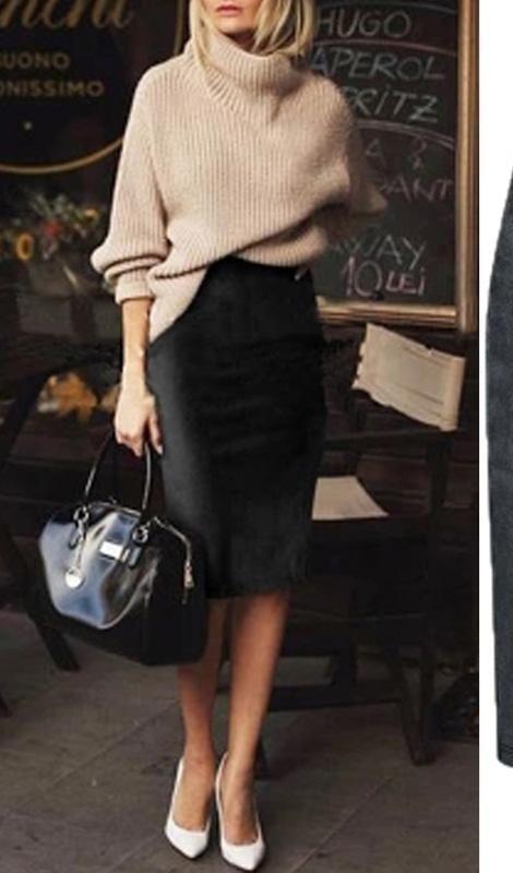 Carmen Faux Suede Midi Pencil Skirt – Camel, Beige or Black #workoutfitswomen