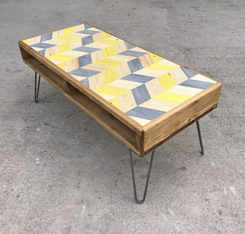 Chevron coffee table geometric industrial design in 2020