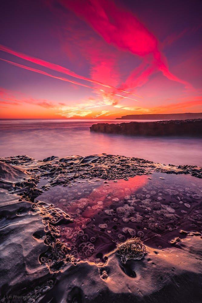 Santa Cruz Sunset By J Liu Sky Sea Sunset Reflection Beach Ocean Rock Seascape Cloud Pacific Wildlife Sunset Beautiful Sunset Amazing Nature