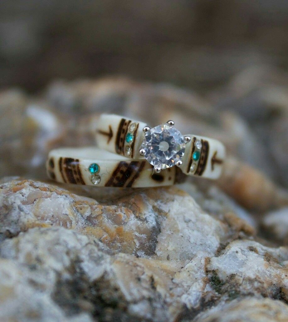 hunters deer in wedding antler rings custom solid steel ring band damascus made products inlaid