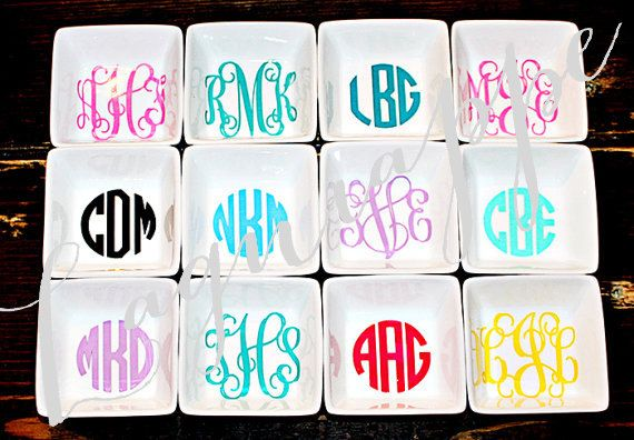 """Monogrammed Jewelry Dish Ring Bowl Jewelry Bowl  $9.00  3""""w x 3""""d x 1.5""""h  by Lagniappe985"""