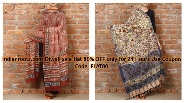 Red & Fawn and Multicolored Mulmul Cotton #Kota #Doria #Dupatta With #Dabu #Print by #Tota Myna