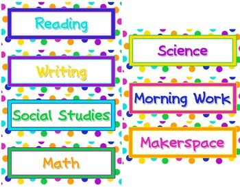polka dot editable class schedule cards or name tags school