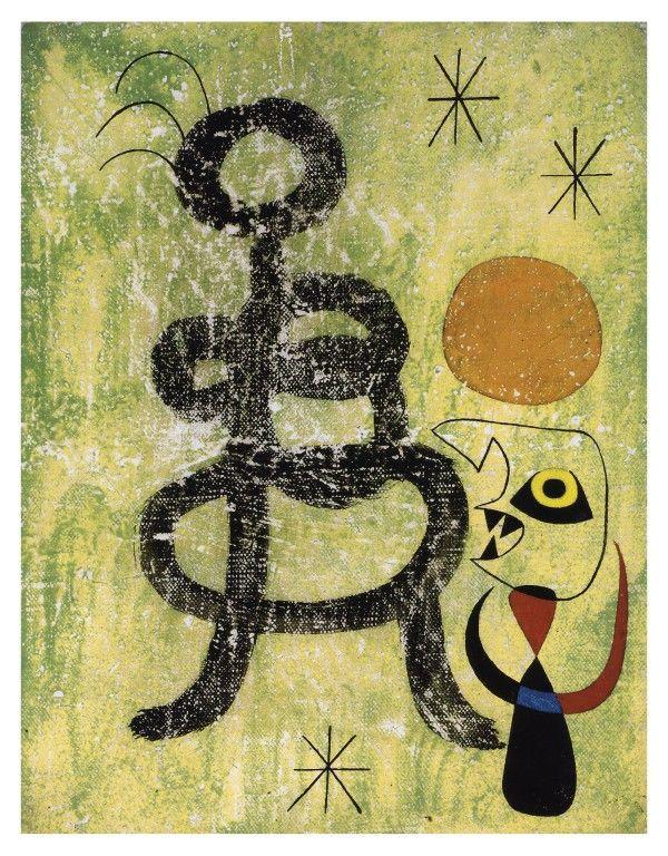 Femme et oiseau devant le soleil 1944