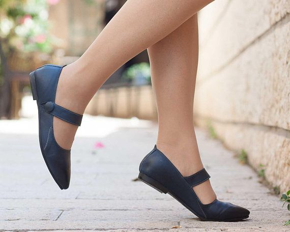 9fcc144950b34 Blue leather shoes, Flat Shoes, Blue Leather Flats, Pointed Toe ...