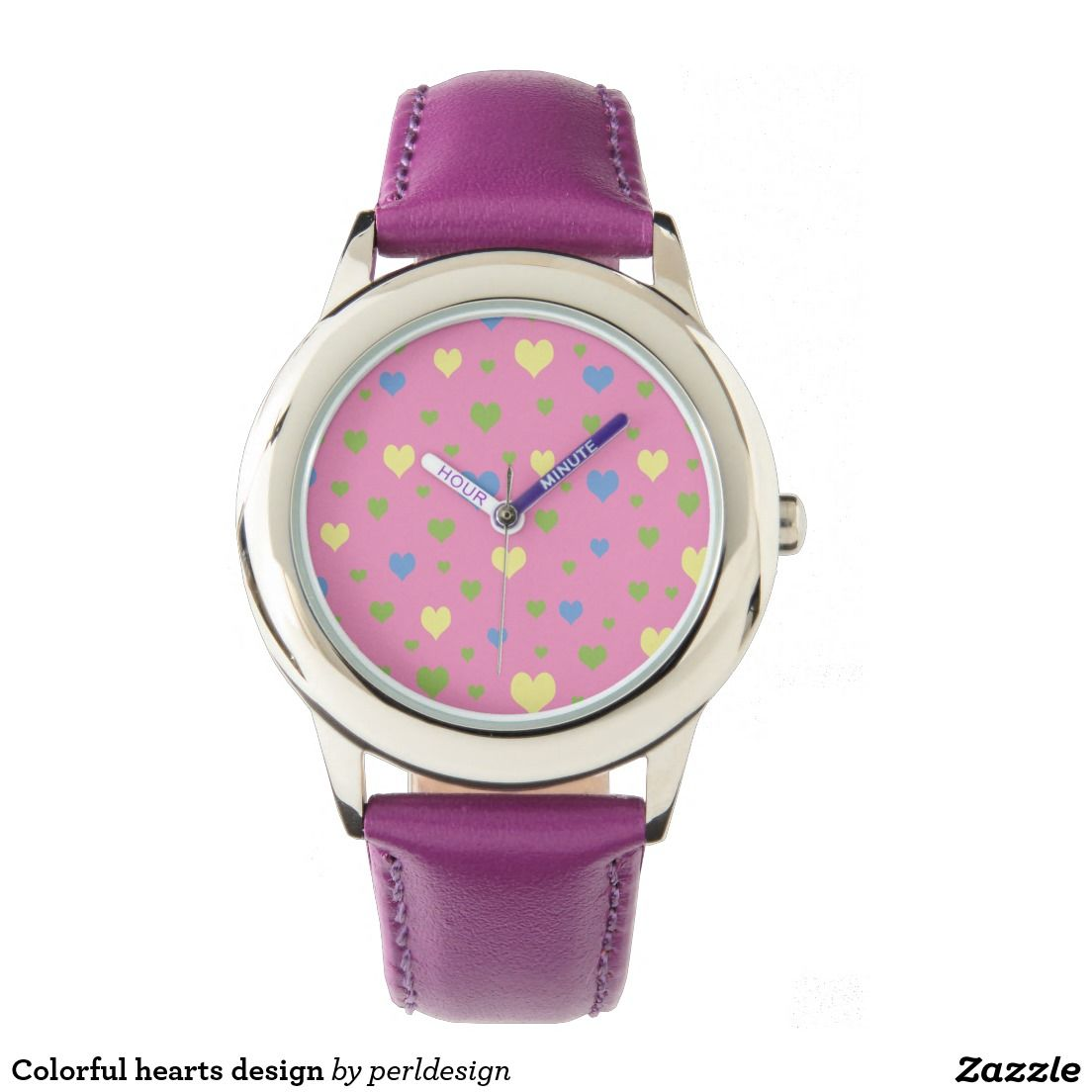 Colorful Hearts Design Watch