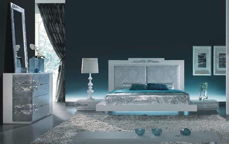 White And Silver Bedroom Blue