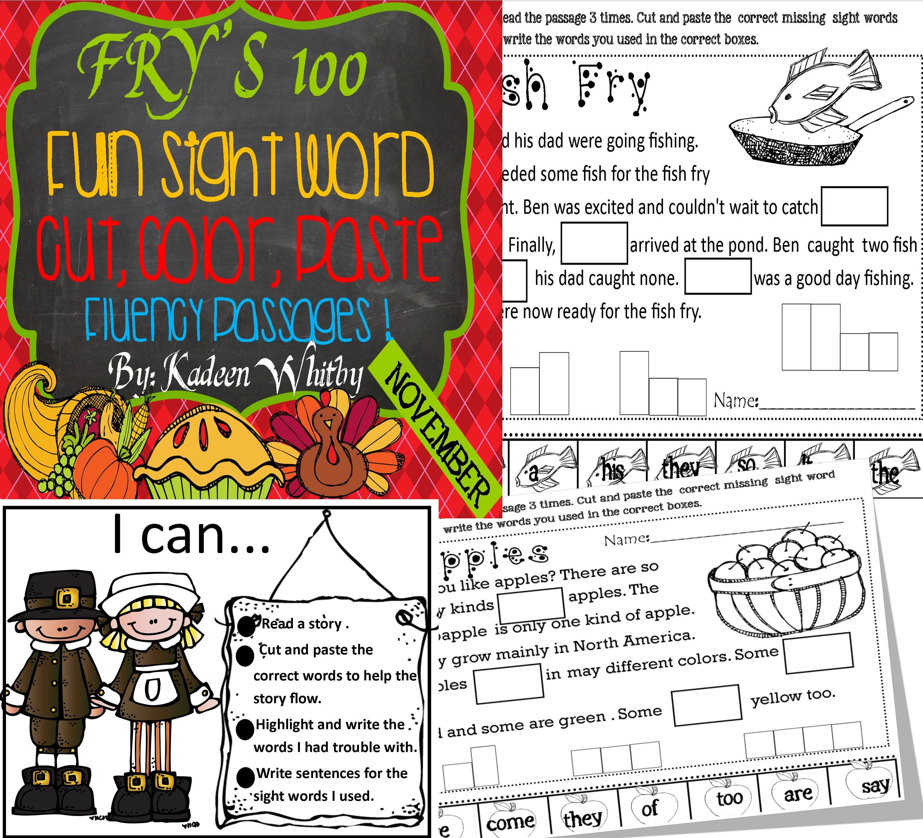 Fry S First 100 Sight Word Cut And Paste Fluency Passages