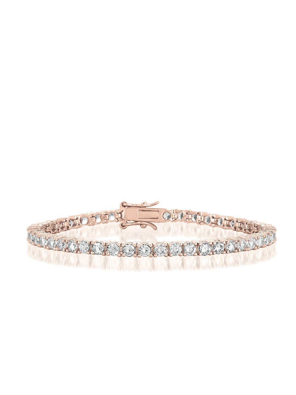 Rose Gold Tennis Bracelet By Genevive Jewelry At Gilt Tennis Bracelet Diamond Rose Gold Tennis Black Gold Jewelry