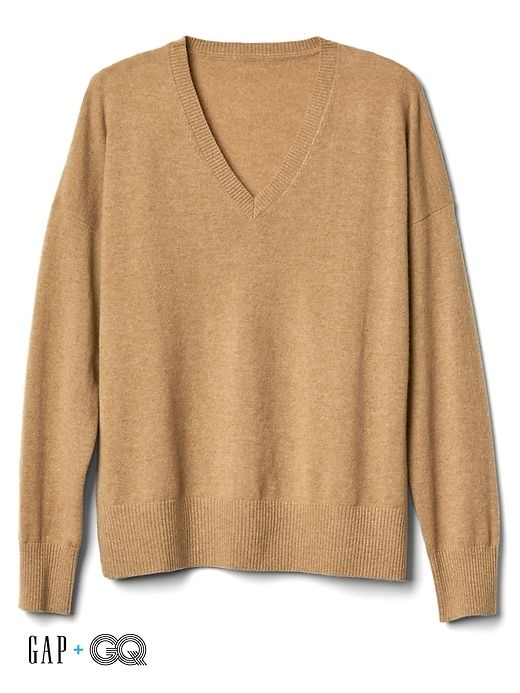 35632b76f12 Gap Mens Gap + Gq Ami Cashmere Oversized V-Neck Sweater Brazil Nut ...