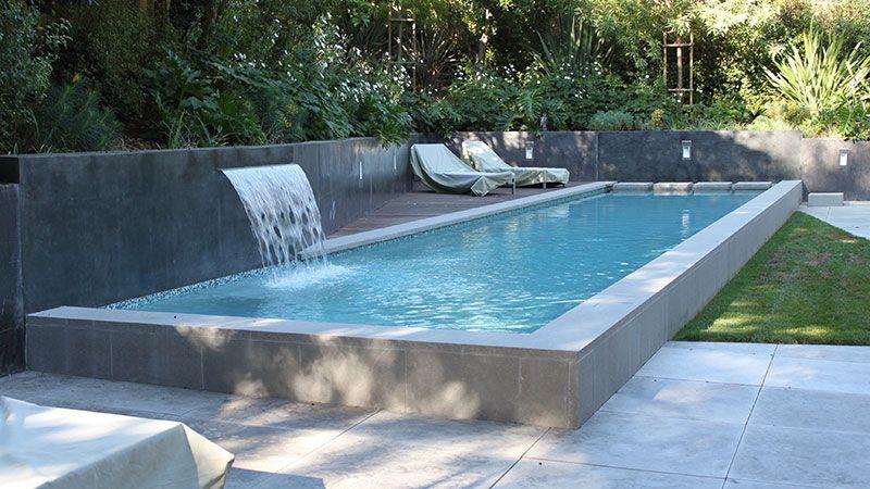 Stucco Pool Retaining Walls Instead Of Tile Google Search In 2020 Backyard Pool Designs Garden Swimming Pool Custom Swimming Pool
