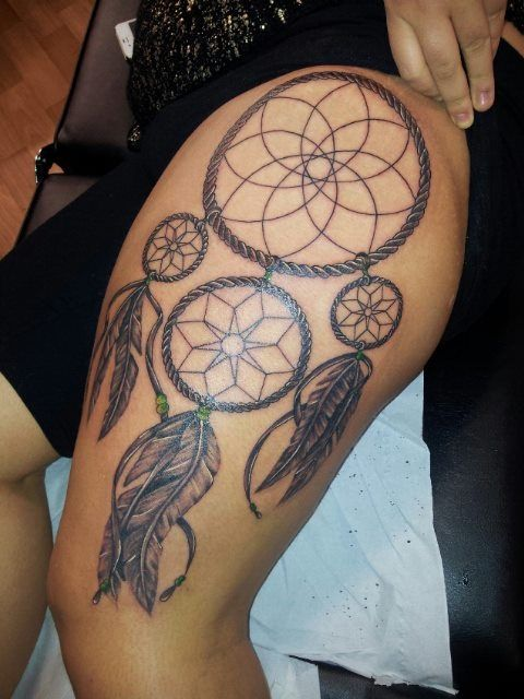 Dream Catcher Tattoos For Girls Adorable Dreamcatcher Tattoo #dreamcatcher #tattoo #thigh #leg Decorating Design