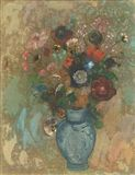 Odilon Redon - Fleurs dans un vase bleu, oil on canvas on MutualArt.com