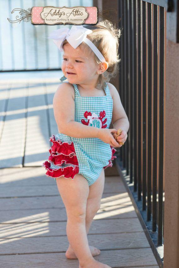 Crab Sunsuit, Baby Girl Sunsuit Romper, Monogrammed Crab Sunsuit, Ruffle Romper, Toddler Girl, Beach Pictures, Gingham Crab Romper on Etsy, $38.00