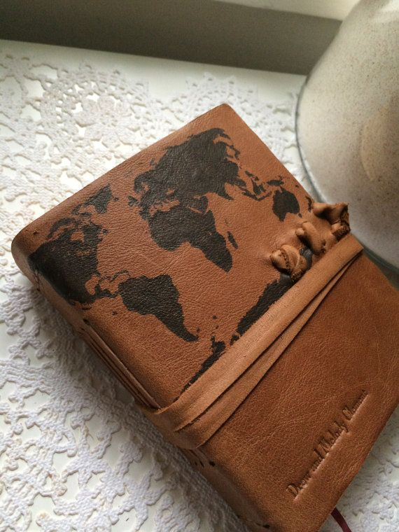 Free monogram stamped world map leather journal in primitive brown stamped world map leather journal in primitive brown 6x5 gumiabroncs Image collections