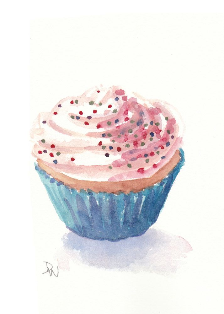 Cupcake Watercolor Painting Food Illustrations Watercolor Food