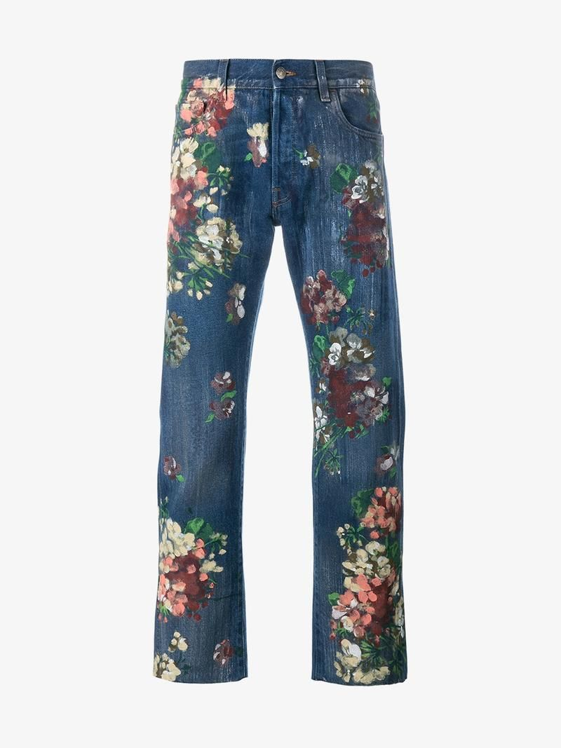 Gucci Floral Painted Jeans Gucci Cloth Gucci Men In