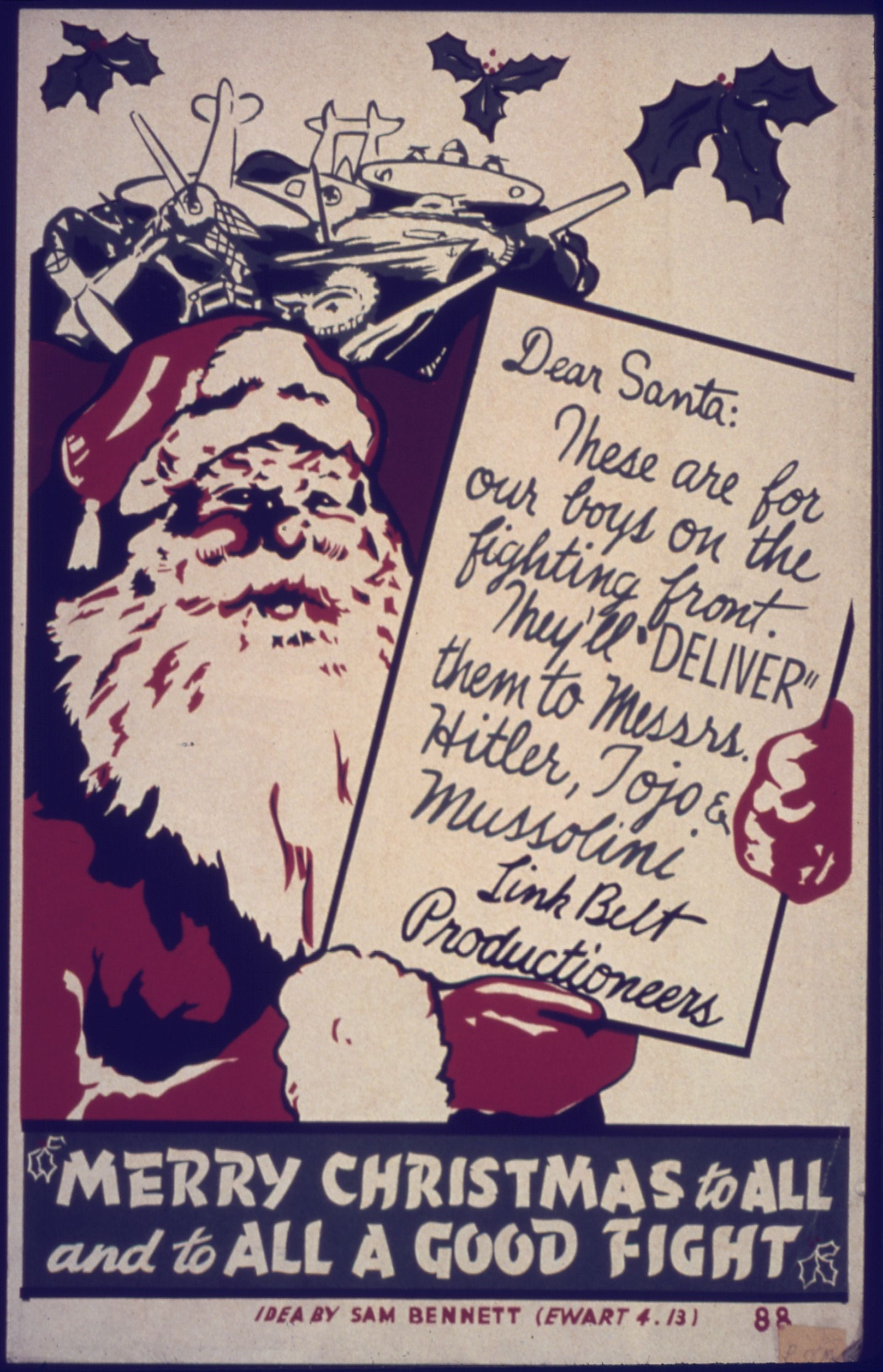 Merry Christmas to all and to all a good fight! WWII Christmas card ...