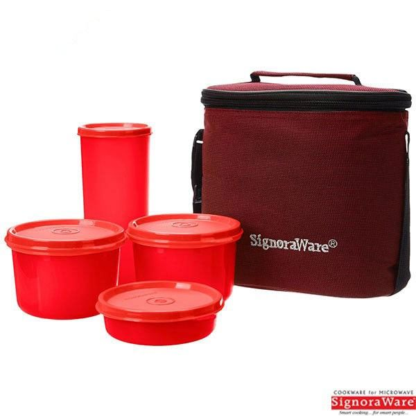 Signoraware Combo Medium Executive Lunch Box With Insulated Bag, Red